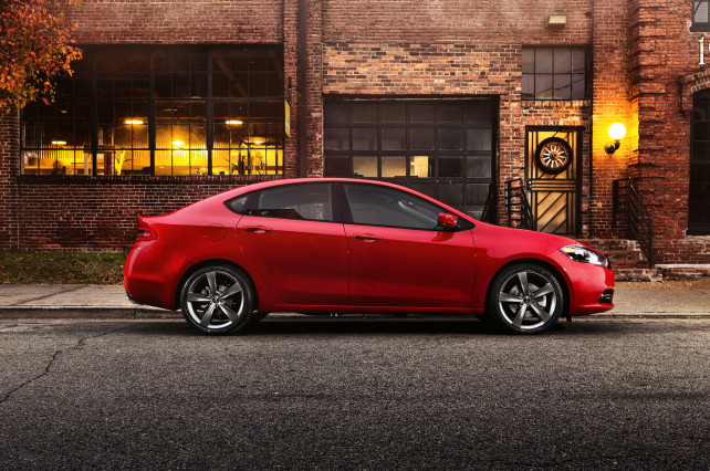 2014 Toyota Corolla vs 2014 Dodge Dart exterior of Dart side